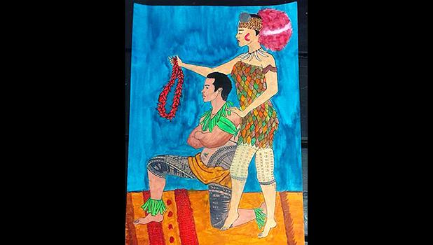 """A look at the winning entry for the 2018 Malofie Congressional Art Competition, entitled """"My Traditional Wear"""", submitted by Katie Godinet of Samoana High School. Amata and her staff, in partnership with the AS Dept. of Education and the SOFIAS, judged submissions earlier this month. [photo: courtesy]"""