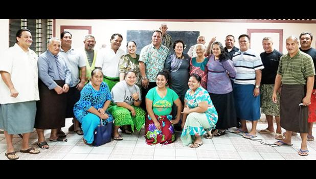 Some of the participants at Amata's well attended Atuu town hall meeting Tuesday included Fono Rep. T. Moliga, Pulenu'u Omar Shalhout, Leoo Ma'o from the Senate, the CCCAS Atuu's Rev. Minister, and other village members and leaders. [courtesy photo]