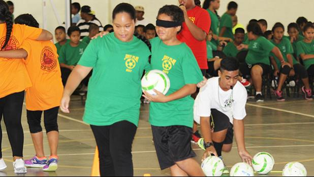 A.P. Lutali students perform their session's skill part of their demonstration, during the ASDOE/FFAS Just Play Program finale on Thursday, April 27, 2017 at the DYWA gymnasium in Pago Pago.