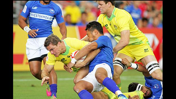 Australia discipline and intensity supplied their victory over Manu Samoa — Singapore Sevens, Day 1, National Stadium, Singapore.   [Photo: Barry Markowitz]
