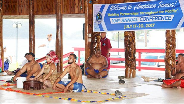 Miss American Samoa Antonina Lilomaiava performing the traditional Samoan Ava ceremony to welcome the guests of the 104th Annual Conference for the Association of Pacific Ports. See story for full details.  [photo: TG]