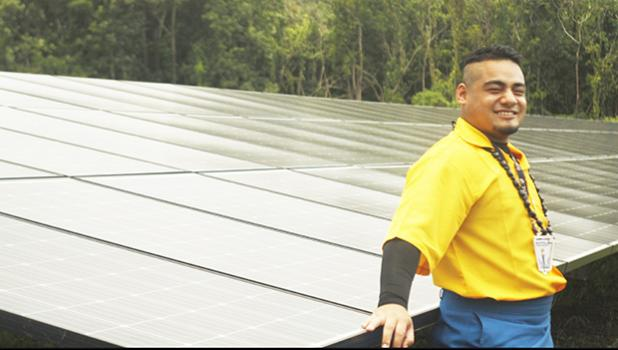 Published storyteller Azariah Usoali'i Mathew Maiava, seeing the micro grids in Ta'u, Manu'a firsthand, says his island home could be a tourist attraction if energy efficiency continues to be a top priority.  [Courtesy photo]