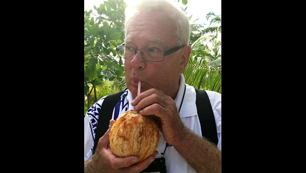 "FEMA's William ""Billy"" Penn, who lives in Texas is the author of this Op-Ed. He is seen in this photo drinking a cold 'niu'. He has worked on countless disasters as an external affairs specialist throughout the United States and Alaska. This was his first trip to American Samoa for Tropical Storm Gita.  [photo: FEMA]"