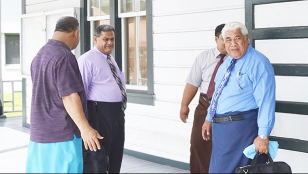 Some of the CCCAS elders, with Chairman Rev. Elder Mamoe Eveni Jr. (right) during court proceedings between the CCCAS and Secretary General Rev. Amaama Tofaeono. The Court has ruled in favor of CCCAS, to take possession of the home Rev. Amaama and his wife occupy inside the Kanana Fou compound.  [photo AF]
