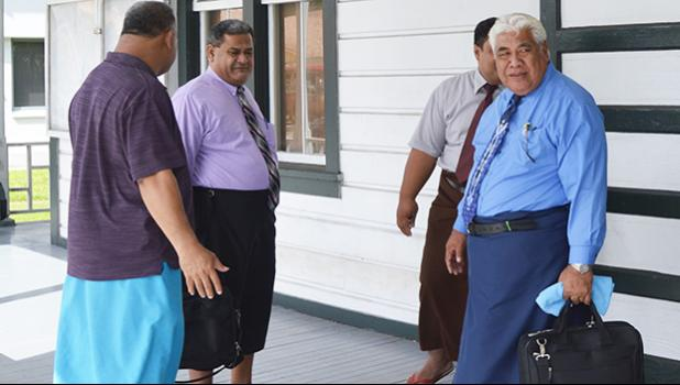 Some of the CCCAS elders, with Chairman Rev. Elder Mamoe Eveni Jr. (right) during court proceedings between the CCCAS and Secretary General Rev. Amaama Tofaeono in June 2017.  [SN fie photo]