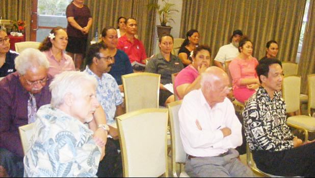A look at some of the Chamber of Commerce members who attended Wednesday night's general membership meeting, where Commerce Department acting director Keniseli Lafaele presented on the administration's economic development.  [photo: FS]