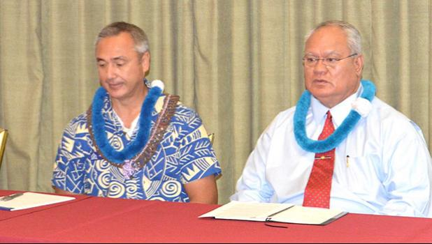 Samoa Police Commissioner, Egon Keil, and DPS Commissioner, Le'i Sonny Thompson during last year's PTCN conference in American Samoa.  [photo: AF]