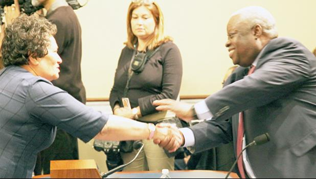Congresswoman Amata and USVI Governor Mapp, before a Natural Resources Committee hearing on several shared challenges territories face.  [courtesy photo]