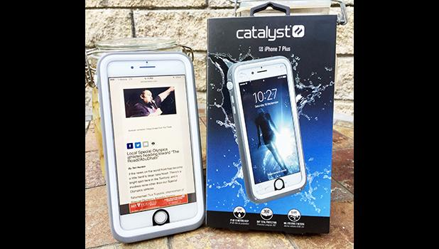 "Catalyst is a truly unique iphone case that they attest is 33-ft water resistant, 6.6-ft drop proof, and when ""hell freezes over"" and it snows in Pago Harbor...Catalyst protect you from that possibility too.  [photo: Barry Markowitz]"