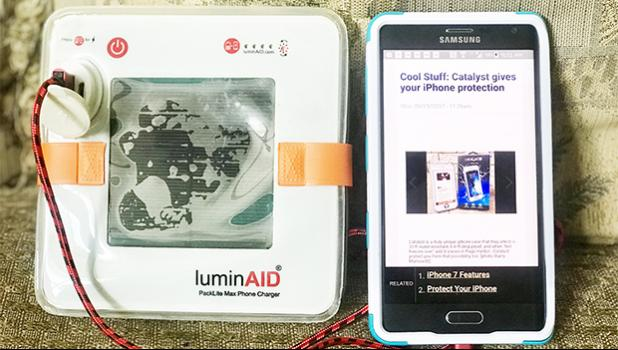 Hurricane Harvey, Irma, & Maria's devastation is being proactively battled by Luminaid's Packlite Max Phone Charger, only $39 if you preorder now!  [Photo: Barry Markowitz]