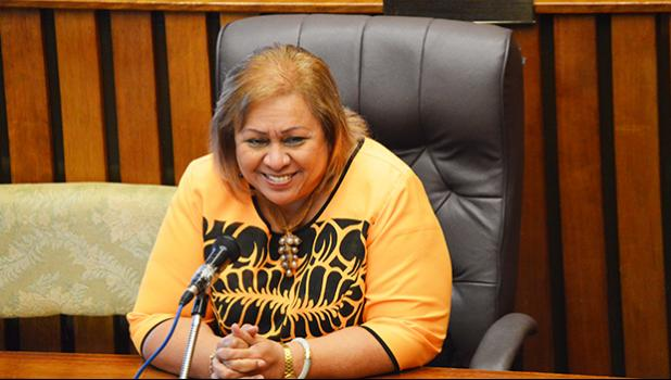 Newly confirmed chief procurement officer, Dr. Oreta Mapu Crichton during her Senate confirmation hearing last Friday.  [photo: AF]