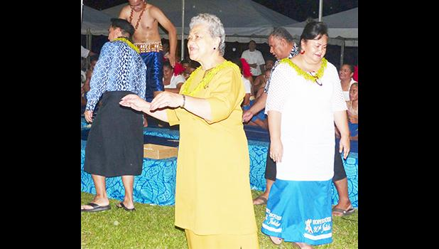 First Lady Cynthia Malala Moliga joined Sister Sheila and others during the taualuga for the Catholic Tafuna Youth performance at the Hope House Fiafia Night Fundraiser event, Monday evening, at Fatuoaiga Malae. [photo: Leua Aiono Frost]