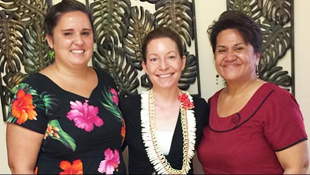 [l-r] American Samoa WorldTeach organization local representative Shivan Wolf, World Teach executive director Karen Doyle Grossman, and Education director Dr. Ruth Matagi-Tofiga last week at the main ASDOE office in Utulei.  [photo: ASDOE]