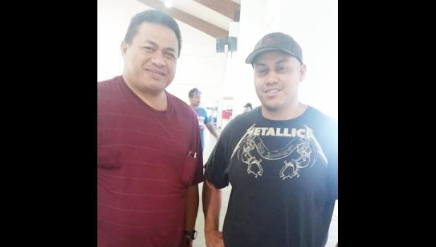 DYWA Deputy Director Pa'u Roy Ausage with Alex Ramirez, a volunteer wrestling coach from southern California who is in the territory conducting free wrestling clinics for locals at the Pago Pago Community Youth Center. [photo: Blue Chen-Fruean]
