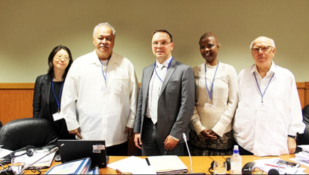 ASG's Office of Political Status, Constitution and Federal Relations executive director Tapa'au Dr. Daniel Aga (second from left) pictured with top officials representing China, Russia, Guyana and Chile sitting on the board of the United Nation Special Committee on Decolonization, at this week's 2017 Caribbean Regional Seminar hosted by St. Vincent and the Grenadines. Not pictured in the group photo is the chairman, Rafael Carreno of Venezuela, as he was attending this week's emergency meeting with the UN S