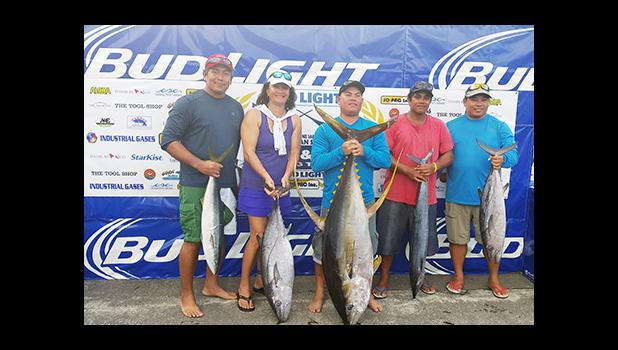 Crew of the Dorado boat pictured last Saturday, after wining 1st place for the heaviest Yellowfin, weighing in at 113.2 pounds, during the  during the 1st Annual Suds Open Fishing Tournament, co-hosted by the National Marine Sanctuary of American Samoa (NMSAS) and its major sponsors were Bud Light and South Pacific Distributors Inc. (SOPAC).  [photo: NMSAS]