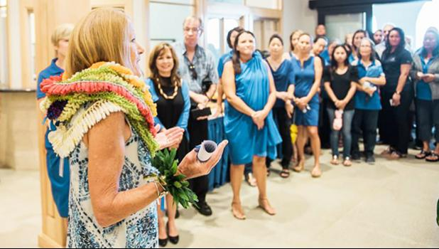 Dr. Babington addresses faculty, students and staff on her first day.  [Courtesy photo]
