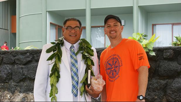 Rev. Ioane Evagelia and Michael McDonald, President of the American Samoa Association of Paddlers (ASAP) on Tuesday afternoon in celebration of the six new outrigger canoes being blessed in a ceremony at Sadie's by the Sea beach. [photo: Ese Malala]