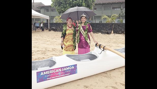 Miss American Samoa Antonina Lilomaiava, who attended the blessing ceremony for the six new outrigger canoes, on behalf of the American Samoa Visitors Bureau, who has sponsored one of the new canoes, on Tuesday, at Sadie's by the Sea beach in Utulei.  [photo: Ese Malala]