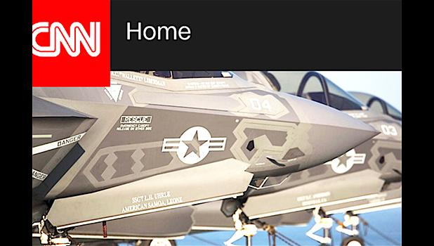 """A look at some of the USMC F-35B stealth fighters that were part of a fleet deployed to Iwakuni, Japan in the first operational overseas deployment for the jets that are dubbed — the most expensive plane in history. The side of the aircraft features the name of Leone HS graduate: SSGT Louis H. Uhrle, a US Marine mechanic who is part of the squadron that deployed to Japan. The name of his village — Leone — is featured on the plane, alongside """"American Samoa"""".  [photo: screenshot of CNN news broadcast]"""