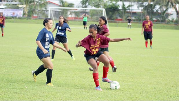 Tafuna's Elcy Lui in action against SPA during the ASHSAA Girls Soccer Championship game at Pago Park Soccer Stadium on Wednesday, March 22, 2017. The Warriors won 2-0, thanks to Lui's two goals that helped her nab the final's MVP award. [FFAS MEDIA/Brian Vitolio]