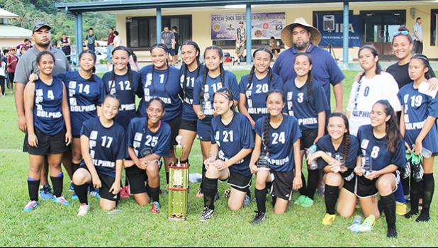 The SPA Dolphins squad, second place finishers for the ASHSAA Girls varsity soccer season 2016-2017 at Pago Park Soccer Stadium on Wednesday, March 22, 2017. [FFAS MEDIA/Brian Vitolio]