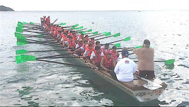 """The Fagaitua fautasi crew is a newcomer to """"le faigamea i le tai"""", although their boat is not. They will be using the Sinapioa, which was used by the Legislative Branch rowers in one of last year's Flag Day race events. [Photo: EM]"""