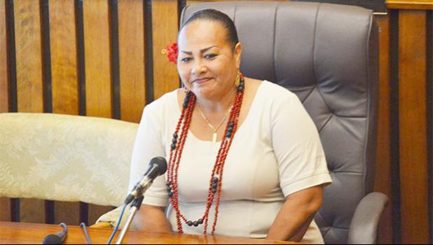 Immigration Board chairwoman, Fanene Edda Wyberski, when she appeared before the Fono for confirmation of her appointment to the Immigration Board.  [photo: AF]