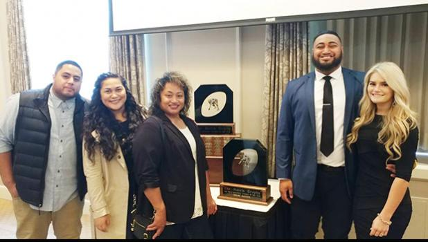 From R-L Wife Angelia, Isaac Asiata, Mother Leitu Tui, cousin Maple Taumua, Fiance Austin Koke. [courtesy photo]