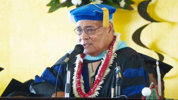 Gov. Lolo Matalasi Moliga during his special remarks at last Friday's American Samoa Community College Fall Commencement at the ASCC Gymnasium.  [photo: Leua Aiono Frost]