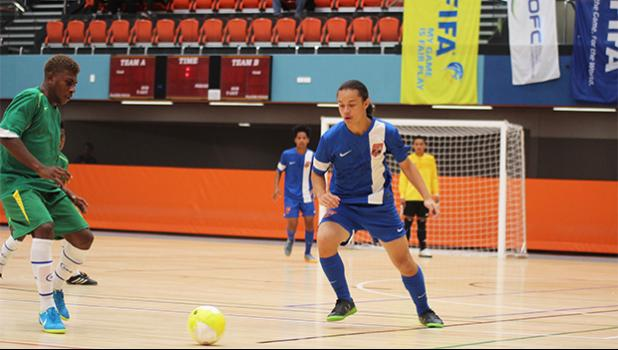 American Samoa Youth Futsal team's captain Gabriel Taumua in action against the Solomon Islands during a game of the OFC Youth Futsal Tournament at Bruce Pulman Arena in Auckland, New Zealand on Wednesday, October 4, 2017.  [FFAS MEDIA/Brian Vitolio]