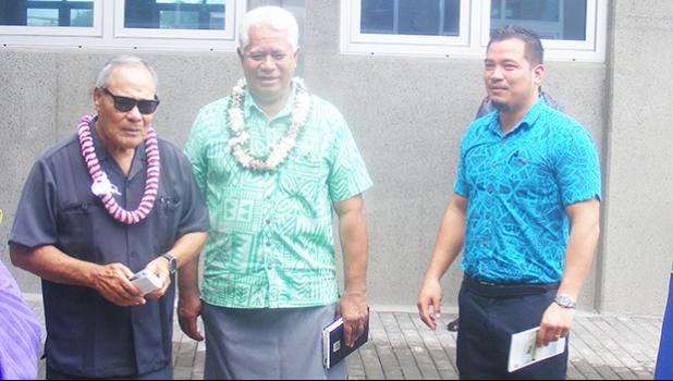 [l-r] Gov. Lolo Matalasi Moliga, ASPA board chairman Fonoti Perelini Perelini and ASPA board member Solip Hong, last Friday morning at the dedication of the $4.6 million ASPA Operations Center building in Tafuna.  [photo: FS]