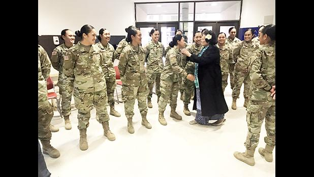 """It was a great pleasure to greet our soldiers from American Samoa on behalf of everyone back home, and wish them Merry Christmas,"" said Congresswoman Aumua Amata, who visited Fort Lee, Virginia, last week. The soldiers are stationed at Fort Lee for their Advanced Individual Training (AIT) and will not be able to return home for the holidays.  [Courtesy photo]"