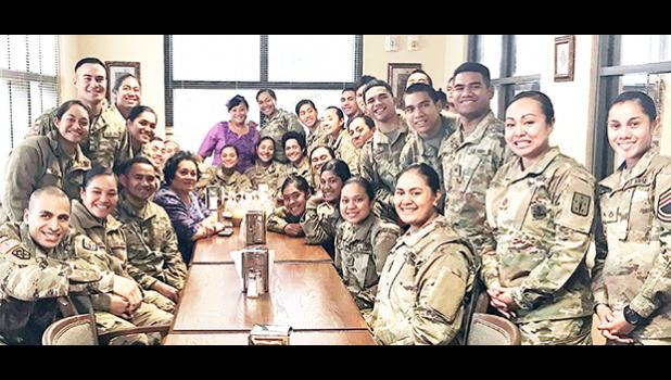 """It was a great pleasure to greet our soldiers from American Samoa on behalf of everyone back home, and wish them Merry Christmas,"" said Aumua Amata. ""They send warm Christmas wishes back to everyone. I was able to take a few moments to tell them we're all very proud of them, and thinking of them in their training, and at this time of year.""  [Courtesy photo]"