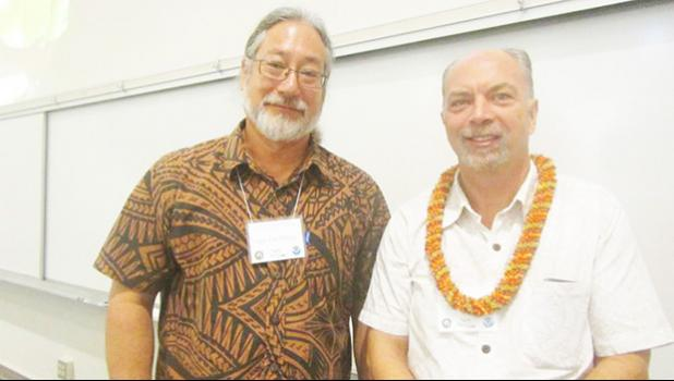 """American Samoa's Historic Preservation Officer, David J. Herdrich with Dr. Hans Van Tilburg, who was one of his collaborators on his presentation, """"A History of the Development and Use of the Samoan Fautasi,"""" and one of the organizers of the the 28th  Annual Symposium on the Maritime Archaeology and History of Hawai'i and the Pacific on  February 18th, 2017.  [Courtesy photo]"""