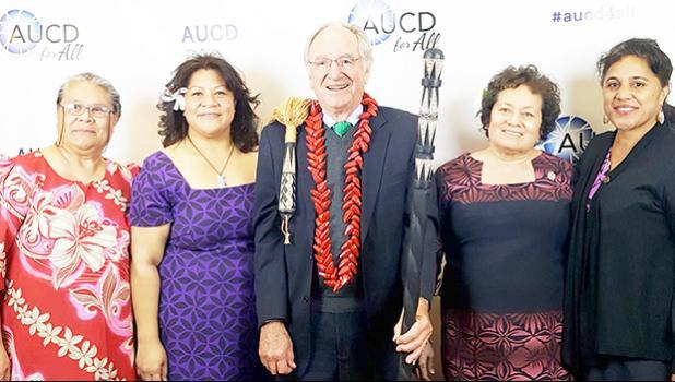 UCEDD Director, Tafa Tua-Tupuola, (second from left), retired U.S Sen. Tom Harkin (middle), Congresswoman Aumua Amata (fourth from left), and others at Wednesday night's Association for University Center on Disabilities (AUCD) Gala4All Event in Washington D.C.  [photo: Congresswoman Aumua's office]