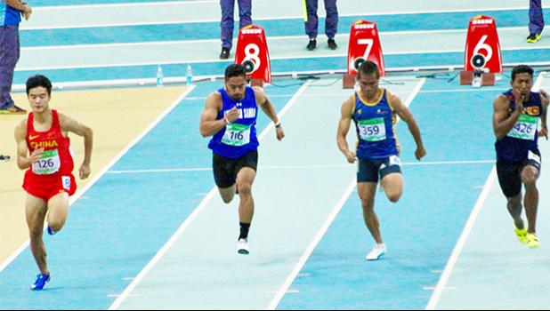 American Samoa Sprinter Isaac Silafau (2nd from left #116)​ competing in the 60m sprint category at the 5th Asian Indoor & Martial Arts Games in Ashgabat, Turkmenistan. Isaac's time of 7.4 seconds in the preliminary round did not qualify him for the first round. (Photo: Terry Custodio Auvaa)