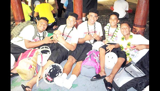 Some of the JPS Division I Football Team members posing for a group photo while awaiting their departure this past Wednesday evening for Hawai'i – to represent American Samoa in the JPS Paradise Football Classic III in Honolulu next week.  [photo: TG]