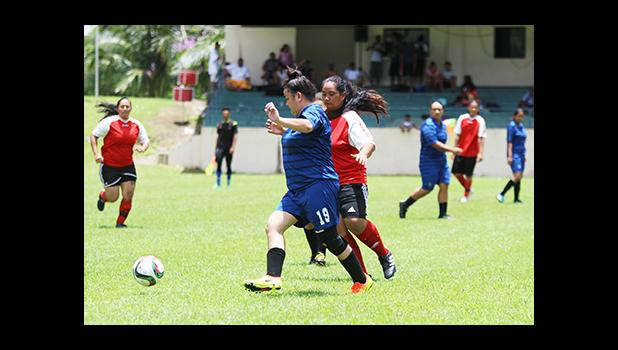 Tiffany Vasa (#19) of Green Bay in action against the Tafuna Jets' Beulah Oney during a women's game of Match Day 10 of the 2016 FFAS National League at Pago Park Soccer Stadium on Saturday, Oct. 29.  [FFAS MEDIA/Brian Vitolio]