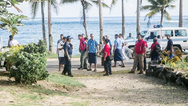 LUATUANU'U CLASH: Police Commissioner Fuiava Egon Keil and Police officers at Luatuanu'u. (Photo: Misiona Simo / Samoa Observer)