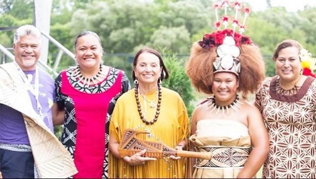Pictured are CEO of the Office of Hawaiian Affairs (OHA) Kamana'o Crabbe, LFSLC executive director Elisapeta Tuupo Alaimaleata; host for WIPCE in Canada, Rebecca Jamieson; LFSLC Communications director Alice Malepeai Silbanuz with taupou Trinity Naunautaiga Silbanuz. [courtesy photo]