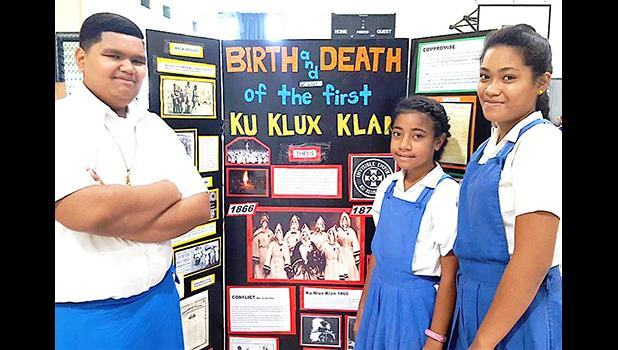 Students from Leatele Elementary School in Fagasa who competed in the Group Exhibit category at yesterday's Island-wide History Day competition, sanctioned by the local Department of Education and held at the LDS Ottoville Stake Center.  [photo: Blue Chen-Fruean]