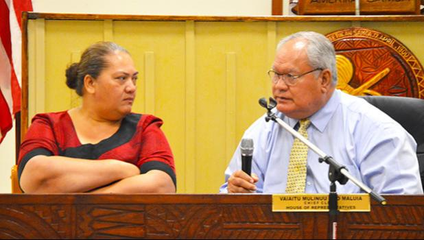 Police Commissioner Le'i Sonny Thompson and Deputy Treasurer Tina Vaa appeared before the House Budget and Appropriations Committee yesterday to testify on a bill to buy new motorcycles for DPS.  [photo: AF]