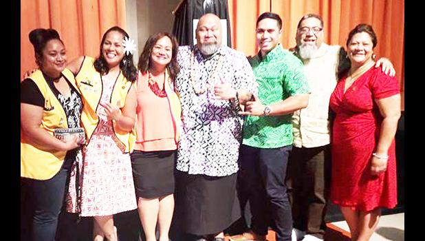 Earlier this year, the Lions Club of Pago Pago was one of the main sponsors at a fundraiser held for Special Olympics of American Samoa (SOAS). Former 'Laughing Samoan' Tofiga Fepuleai, seen here with Lion president Lisa Tuato'o and board members, kept the crowd entertained.  [courtesy photo]