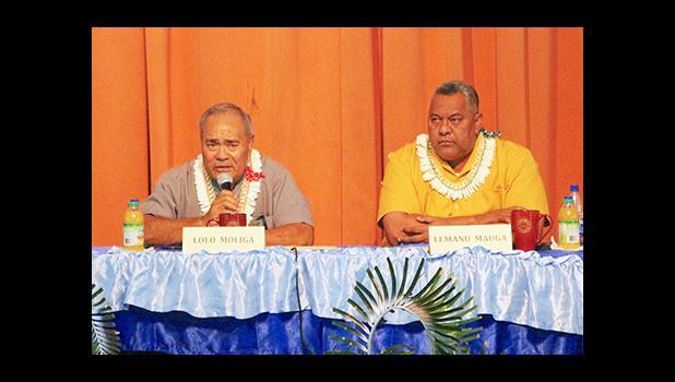 The incumbents, Governor Lolo Matalasi Moliga and Lt. Gov. Lemanu Peleti Mauga during this past Monday's Gubernatorial Forum on Disability issues. [photo: TG]