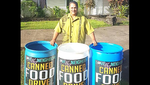 Three of the 55-gallon drums that will be used to collect nonperishable food items for the estimated 1,500 cannery workers who will be without paychecks for 5 weeks, when StarKist Samoa shuts down later this month.   [photo: BC]