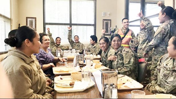 Congresswoman Aumua Amata was pleased to greet soldiers from American Samoa and spend time with them at Fort Lee, Virginia, including having lunch with them.  [Courtesy photo]