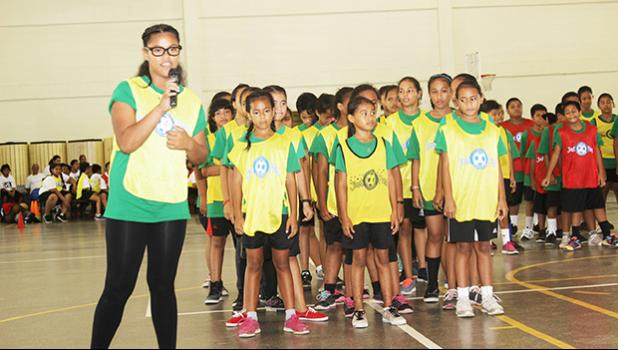 A Lupelele elementary student presenter explains their theme to the judges during the ASDOE/FFAS Just Play Program finale on Thursday, April 27, 2017 at the DYWA gymnasium in Pago Pago.