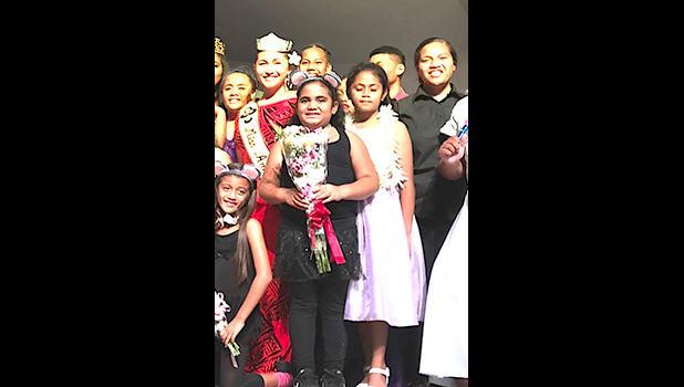 Miss American Samoa Matauaina Toomalatai shown recently with the cast of Twinderella.  [SN file photo]