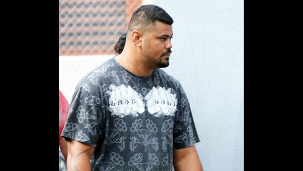 Drug defendant Marty Tanielu outside of the District Court last Wednesday, where he made his initial appearance on two counts of unlawful possession of a controlled substance, methamphetamine.  [photo: AF]